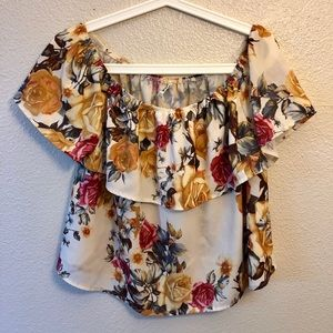 Stradivarius floral off shoulder blouse